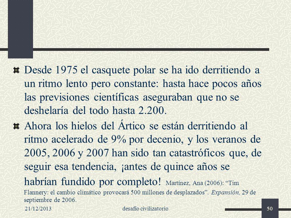 21/12/2013desafío civilizatorio50 Desde 1975 el casquete polar se ha ido derritiendo a un ritmo lento pero constante: hasta hace pocos años las previs