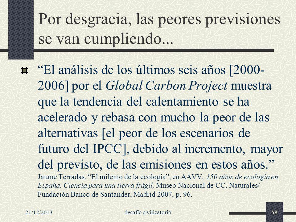 21/12/2013desafío civilizatorio58 Por desgracia, las peores previsiones se van cumpliendo... El análisis de los últimos seis años [2000- 2006] por el