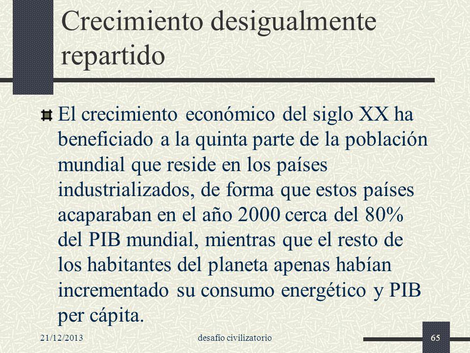 Crecimiento desigualmente repartido El crecimiento económico del siglo XX ha beneficiado a la quinta parte de la población mundial que reside en los p