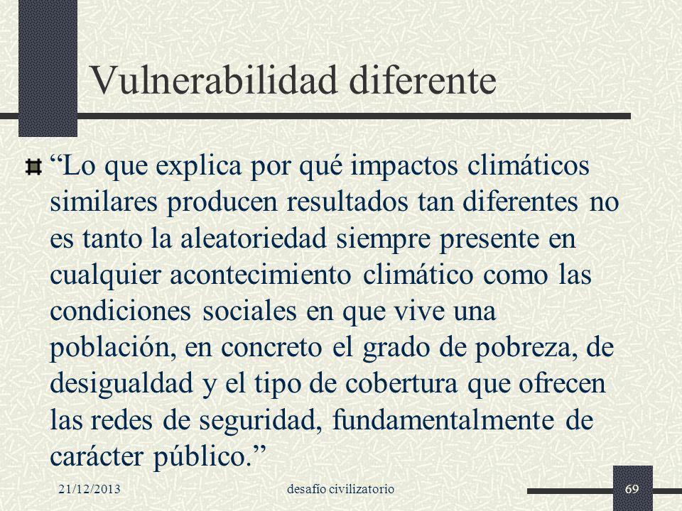21/12/2013desafío civilizatorio69 Vulnerabilidad diferente Lo que explica por qué impactos climáticos similares producen resultados tan diferentes no