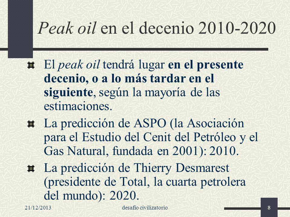 21/12/2013desafío civilizatorio8 Peak oil en el decenio 2010-2020 El peak oil tendrá lugar en el presente decenio, o a lo más tardar en el siguiente,