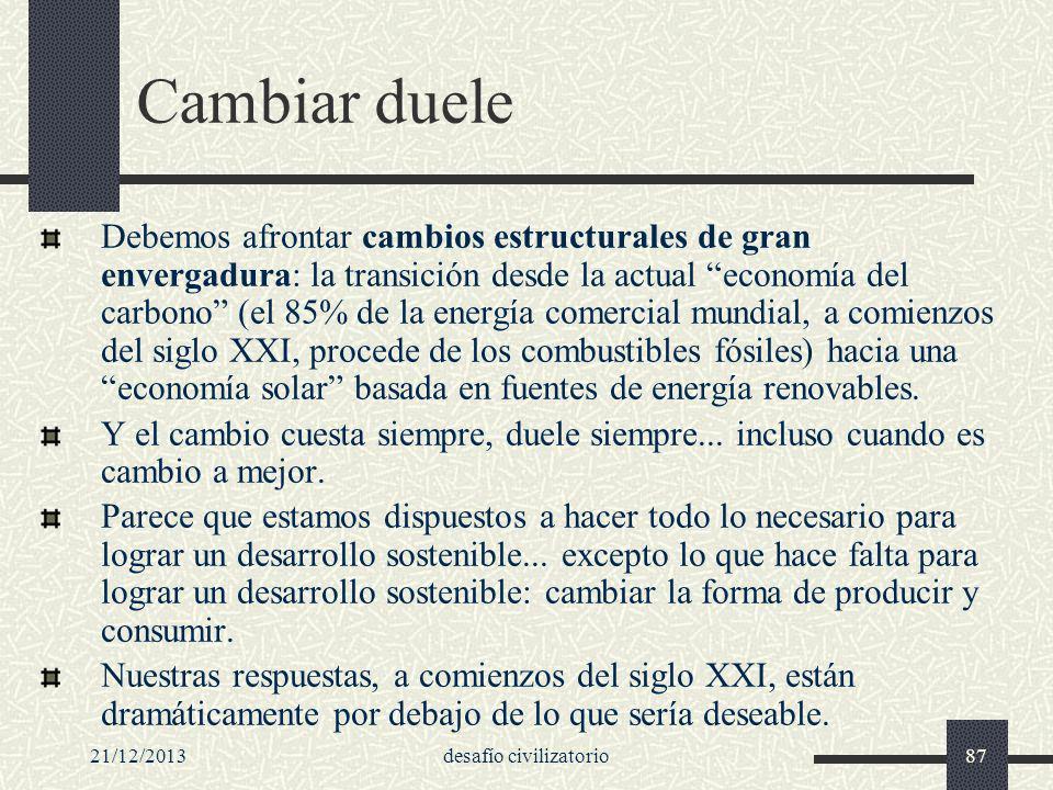 21/12/2013desafío civilizatorio87 Cambiar duele Debemos afrontar cambios estructurales de gran envergadura: la transición desde la actual economía del