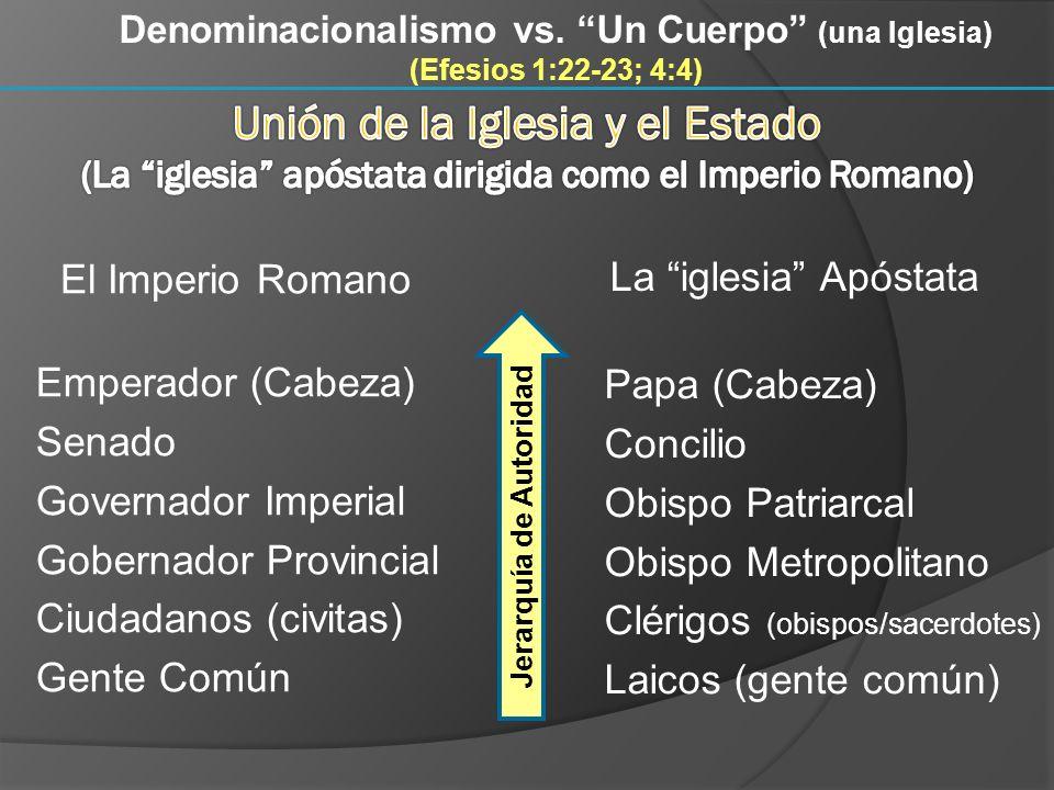 Denominacionalismo vs. Un Cuerpo (una Iglesia) (Efesios 1:22-23; 4:4) El Imperio Romano Emperador (Cabeza) Senado Governador Imperial Gobernador Provi
