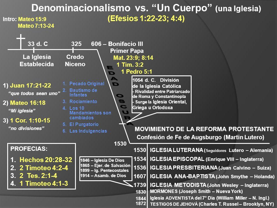 1) Juan 17:21-22 2) Mateo 16:18 3) 1 Cor. 1:10-15 no divisiones que todos sean uno Mi iglesia PROFECIAS: 1. Hechos 20:28-32 2. 2 Timoteo 4:2-4 3. 2 Te