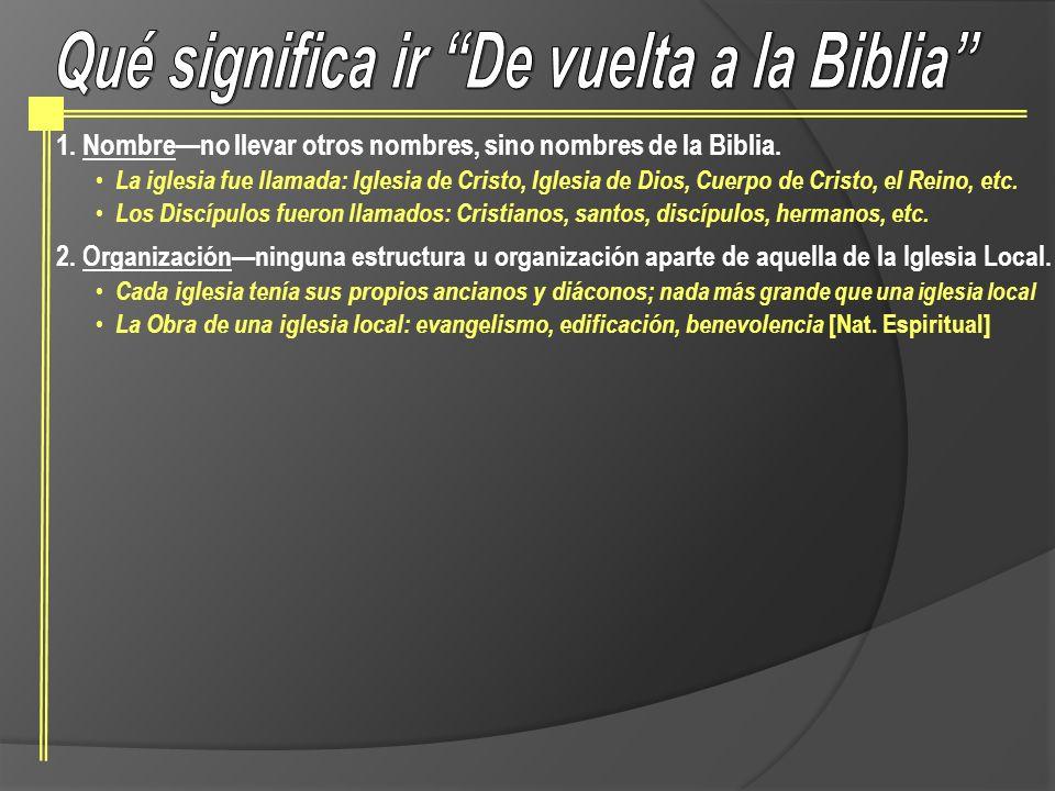 1.Nombreno llevar otros nombres, sino nombres de la Biblia. La iglesia fue llamada: Iglesia de Cristo, Iglesia de Dios, Cuerpo de Cristo, el Reino, et