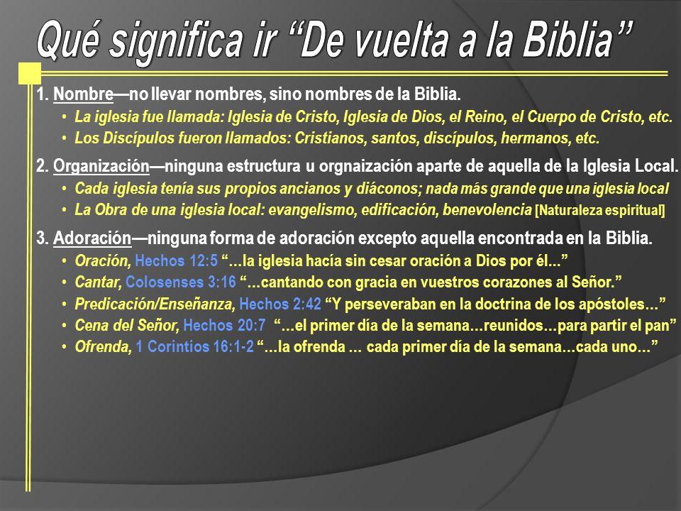 1.Nombreno llevar nombres, sino nombres de la Biblia. La iglesia fue llamada: Iglesia de Cristo, Iglesia de Dios, el Reino, el Cuerpo de Cristo, etc.