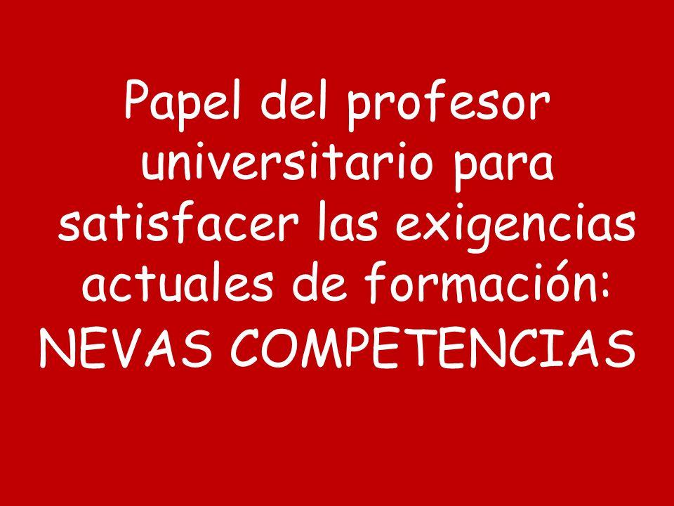 Papel del profesor universitario para satisfacer las exigencias actuales de formación: NEVAS COMPETENCIAS