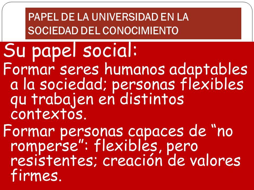 PAPEL DE LA UNIVERSIDAD EN LA SOCIEDAD DEL CONOCIMIENTO Su papel social: Formar seres humanos adaptables a la sociedad; personas flexibles qu trabajen