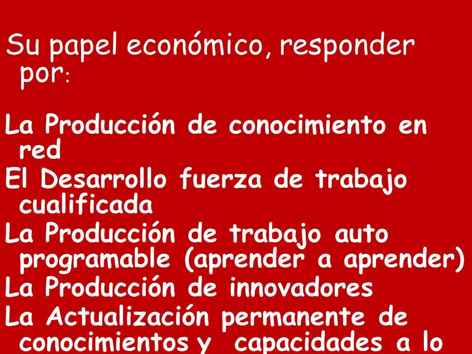Su papel económico, responder por : La Producción de conocimiento en red El Desarrollo fuerza de trabajo cualificada La Producción de trabajo auto pro