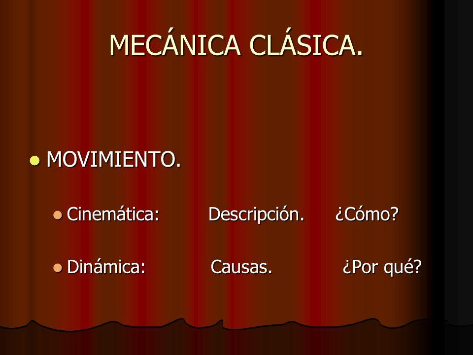 MECÁNICA CLÁSICA. MOVIMIENTO. MOVIMIENTO. Cinemática: Descripción. ¿Cómo? Cinemática: Descripción. ¿Cómo? Dinámica: Causas. ¿Por qué? Dinámica: Causas