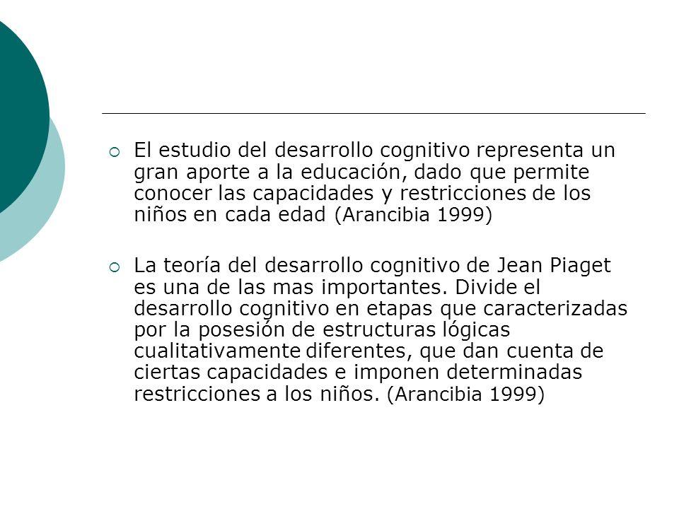 El estudio del desarrollo cognitivo representa un gran aporte a la educación, dado que permite conocer las capacidades y restricciones de los niños en