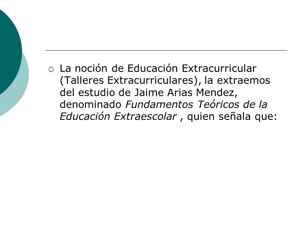 La noción de Educación Extracurricular (Talleres Extracurriculares), la extraemos del estudio de Jaime Arias Mendez, denominado Fundamentos Teóricos d