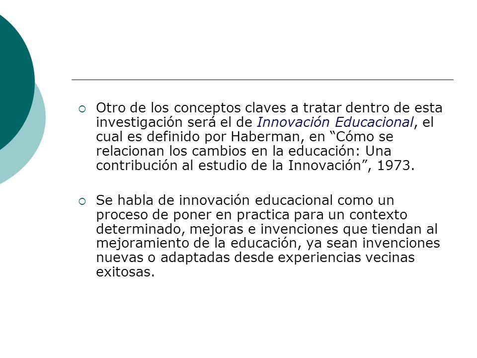 Otro de los conceptos claves a tratar dentro de esta investigación será el de Innovación Educacional, el cual es definido por Haberman, en Cómo se rel