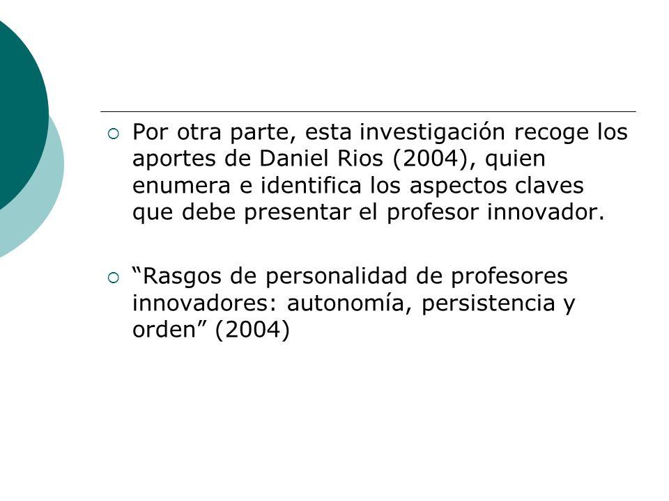 Por otra parte, esta investigación recoge los aportes de Daniel Rios (2004), quien enumera e identifica los aspectos claves que debe presentar el prof