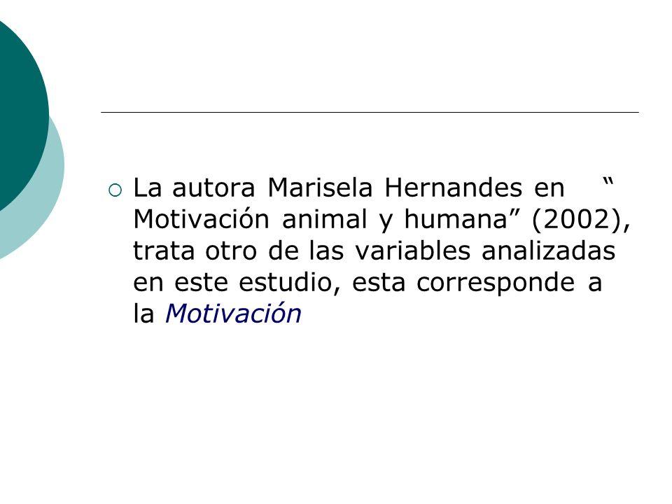 La autora Marisela Hernandes en Motivación animal y humana (2002), trata otro de las variables analizadas en este estudio, esta corresponde a la Motiv
