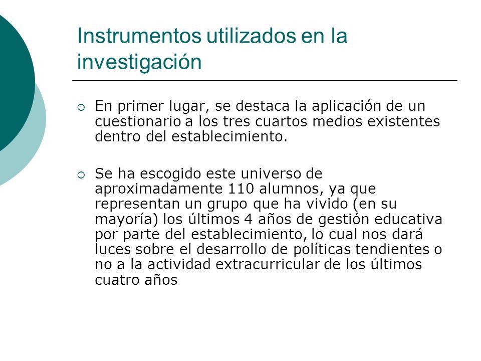 Instrumentos utilizados en la investigación En primer lugar, se destaca la aplicación de un cuestionario a los tres cuartos medios existentes dentro d