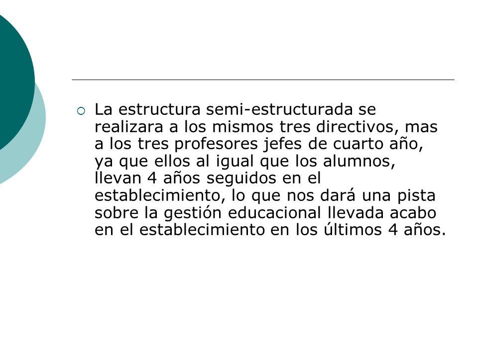 La estructura semi-estructurada se realizara a los mismos tres directivos, mas a los tres profesores jefes de cuarto año, ya que ellos al igual que lo