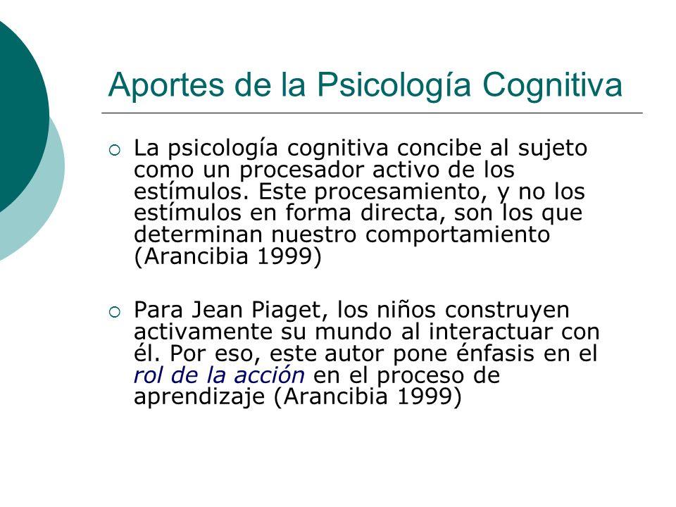 Aportes de la Psicología Cognitiva La psicología cognitiva concibe al sujeto como un procesador activo de los estímulos. Este procesamiento, y no los