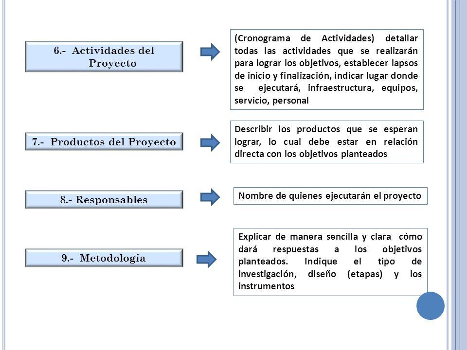 6.- Actividades del Proyecto (Cronograma de Actividades) detallar todas las actividades que se realizarán para lograr los objetivos, establecer lapsos