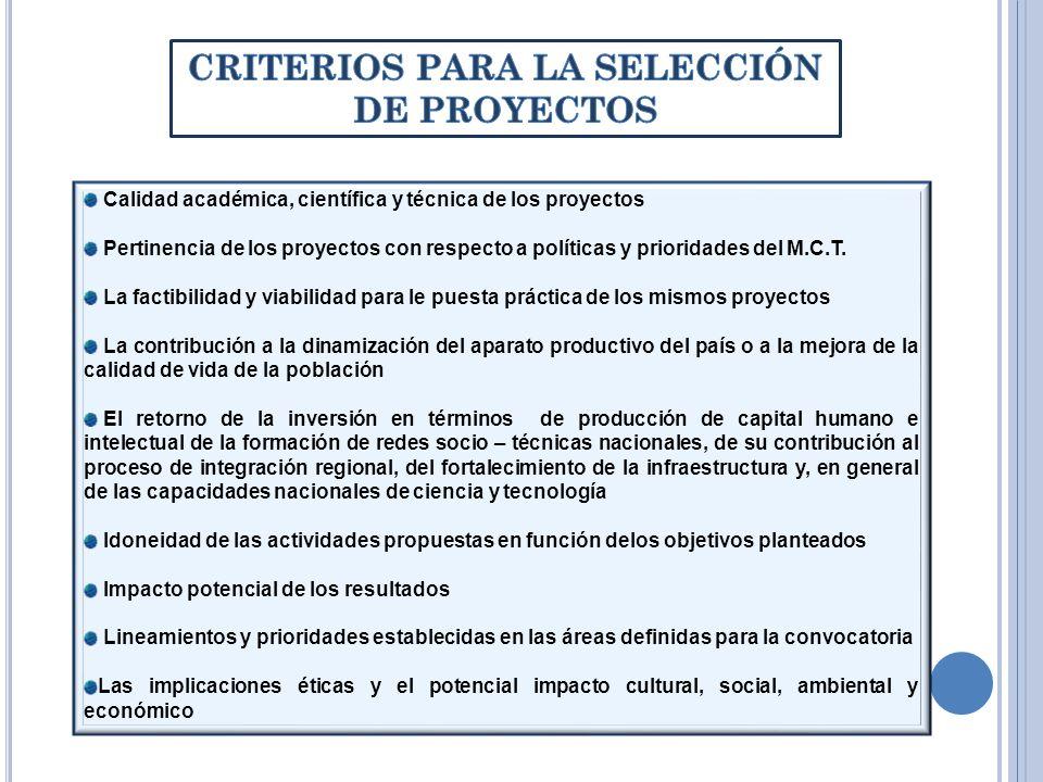 Calidad académica, científica y técnica de los proyectos Pertinencia de los proyectos con respecto a políticas y prioridades del M.C.T. La factibilida