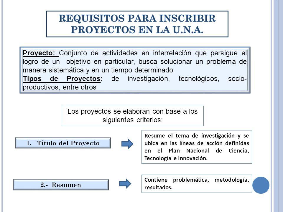 3.- Introducción Explicación general de la finalidad del proyecto, enmarcada en los aspectos legales determinado por LOCTI (relacionarse con algún aspecto del artículo 42) 4.- Problema (Antecedentes, Justificación, Formulación) Describir el problema, indicando origen, relaciones e incógnitas por responder (pertinencia, ubicación geográfica, impacto, descripción sencilla de antecedentes, justificación, pertinencia y significado del proyecto 5.- Objetivos del Proyecto Indican las acciones a seguir, responden a qué, para qué y al cómo.