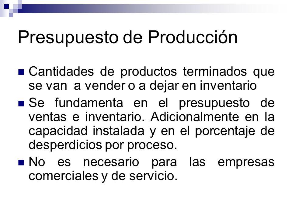 Presupuesto de Producción Cantidades de productos terminados que se van a vender o a dejar en inventario Se fundamenta en el presupuesto de ventas e i