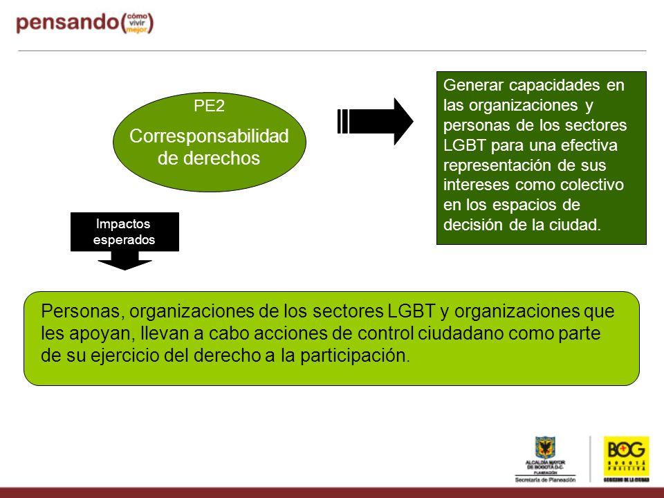 PE2 Corresponsabilidad de derechos Impactos esperados Generar capacidades en las organizaciones y personas de los sectores LGBT para una efectiva repr