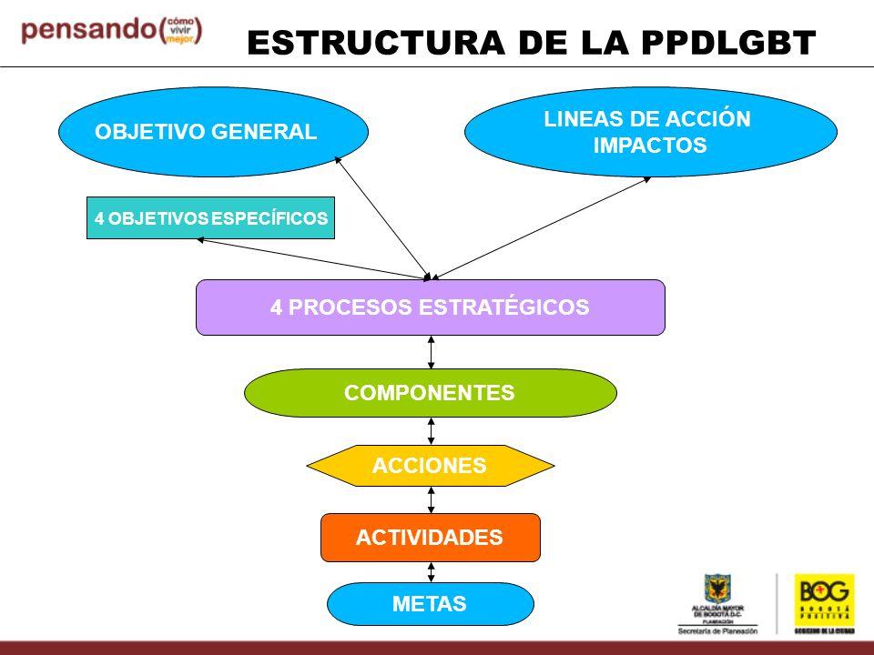ESTRUCTURA DE LA PPDLGBT OBJETIVO GENERAL LINEAS DE ACCIÓN IMPACTOS 4 OBJETIVOS ESPECÍFICOS 4 PROCESOS ESTRATÉGICOS COMPONENTES ACCIONES ACTIVIDADES M