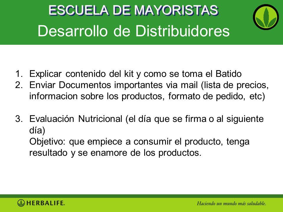 ESCUELA DE MAYORISTAS Desarrollo de Distribuidores 1.Explicar contenido del kit y como se toma el Batido 2.Enviar Documentos importantes via mail (lis