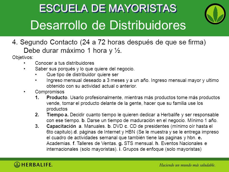ESCUELA DE MAYORISTAS Desarrollo de Distribuidores 4. Segundo Contacto (24 a 72 horas después de que se firma) Debe durar máximo 1 hora y ½. Objetivos