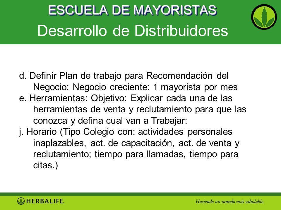 ESCUELA DE MAYORISTAS Desarrollo de Distribuidores d. Definir Plan de trabajo para Recomendación del Negocio: Negocio creciente: 1 mayorista por mes e