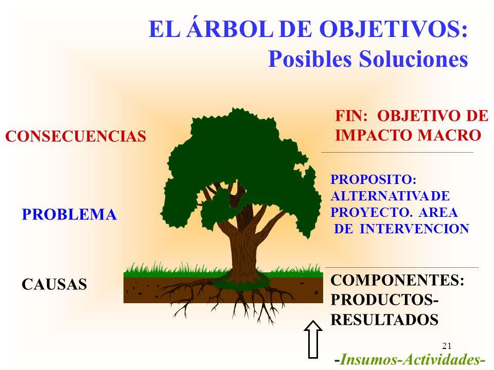 Uso de la lógica para el diseño del árbol de objetivos El problema focal se transforma en el objetivo general. La relación entre todos estos elementos