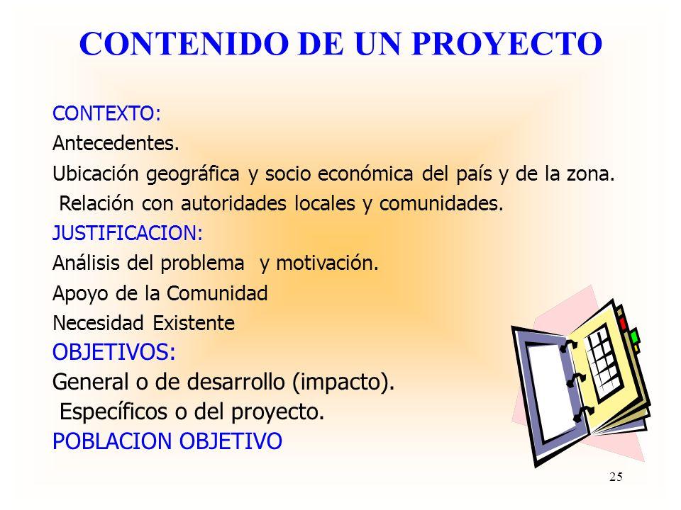 CARACTERISTICAS DE UN PROYECTO Define el problema que espera solucionar: magnitud, causas y consecuencias. Focaliza la población objetivo. Impacto en