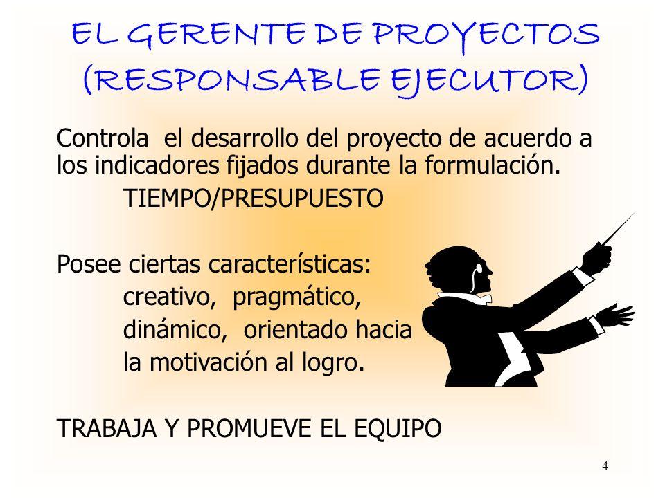EL GERENTE DE PROYECTOS (RESPONSABLE EJECUTOR) Controla el desarrollo del proyecto de acuerdo a los indicadores fijados durante la formulación.