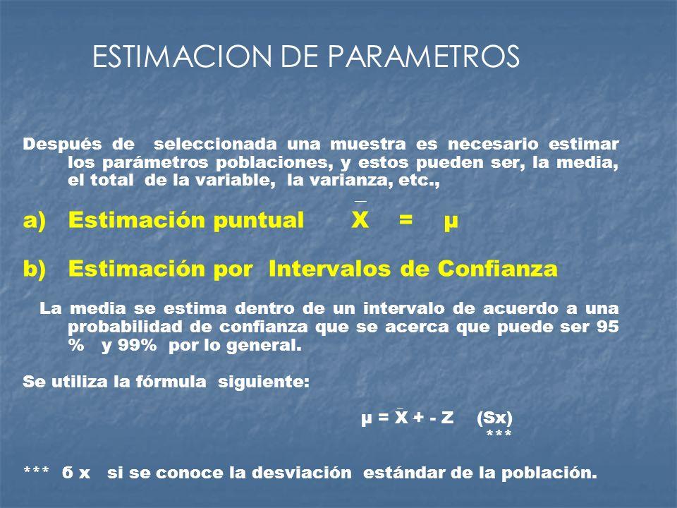Después de seleccionada una muestra es necesario estimar los parámetros poblaciones, y estos pueden ser, la media, el total de la variable, la varianz