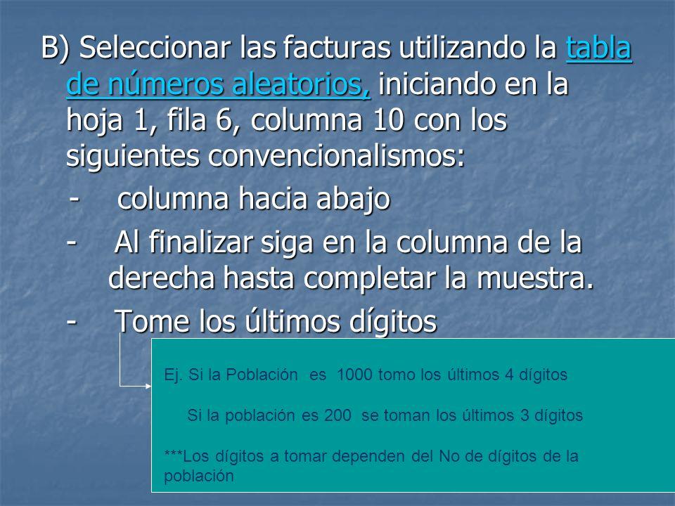 B) Seleccionar las facturas utilizando la tabla de números aleatorios, iniciando en la hoja 1, fila 6, columna 10 con los siguientes convencionalismos