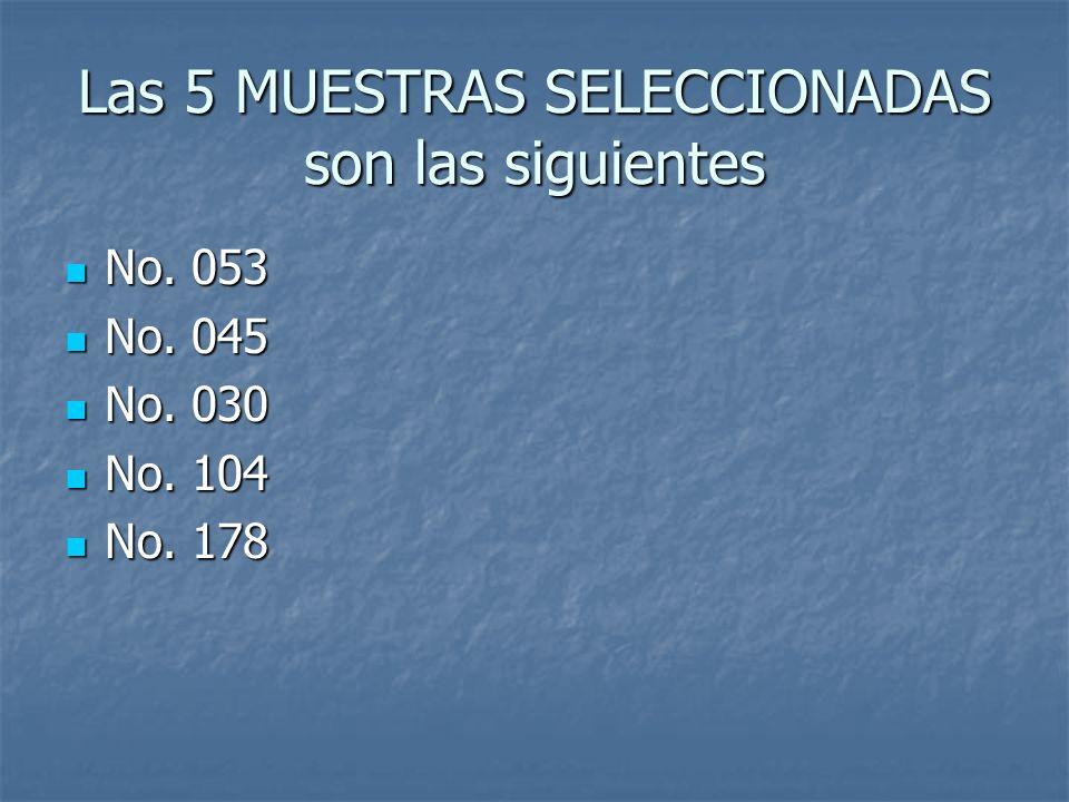 Las 5 MUESTRAS SELECCIONADAS son las siguientes No. 053 No. 053 No. 045 No. 045 No. 030 No. 030 No. 104 No. 104 No. 178 No. 178