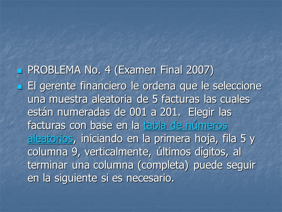 PROBLEMA No. 4 (Examen Final 2007) PROBLEMA No. 4 (Examen Final 2007) El gerente financiero le ordena que le seleccione una muestra aleatoria de 5 fac