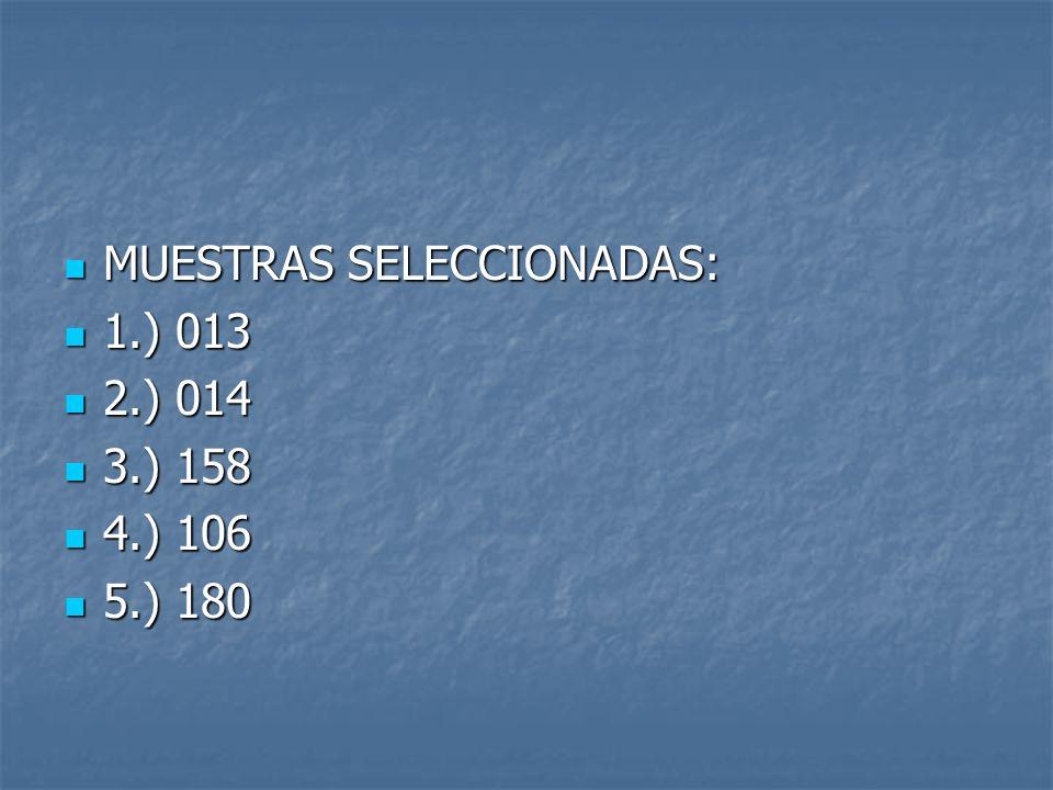 MUESTRAS SELECCIONADAS: MUESTRAS SELECCIONADAS: 1.) 013 1.) 013 2.) 014 2.) 014 3.) 158 3.) 158 4.) 106 4.) 106 5.) 180 5.) 180