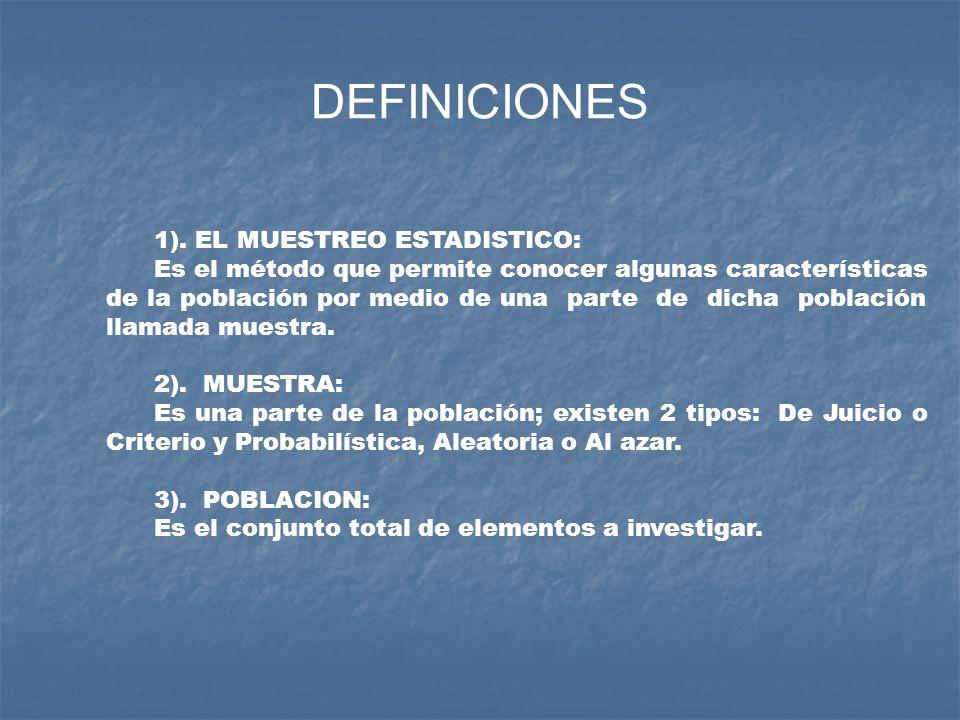 DEFINICIONES 1). EL MUESTREO ESTADISTICO: Es el método que permite conocer algunas características de la población por medio de una parte de dicha pob