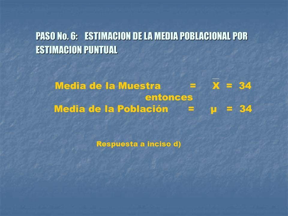 PASO No. 6: ESTIMACION DE LA MEDIA POBLACIONAL POR ESTIMACION PUNTUAL Media de la Muestra = X = 34 entonces Media de la Población = μ = 34 Respuesta a