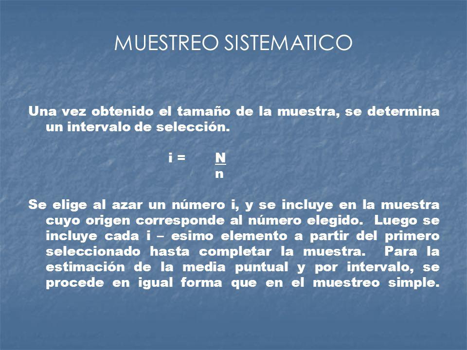MUESTREO SISTEMATICO Una vez obtenido el tamaño de la muestra, se determina un intervalo de selección. i = N n Se elige al azar un número i, y se incl