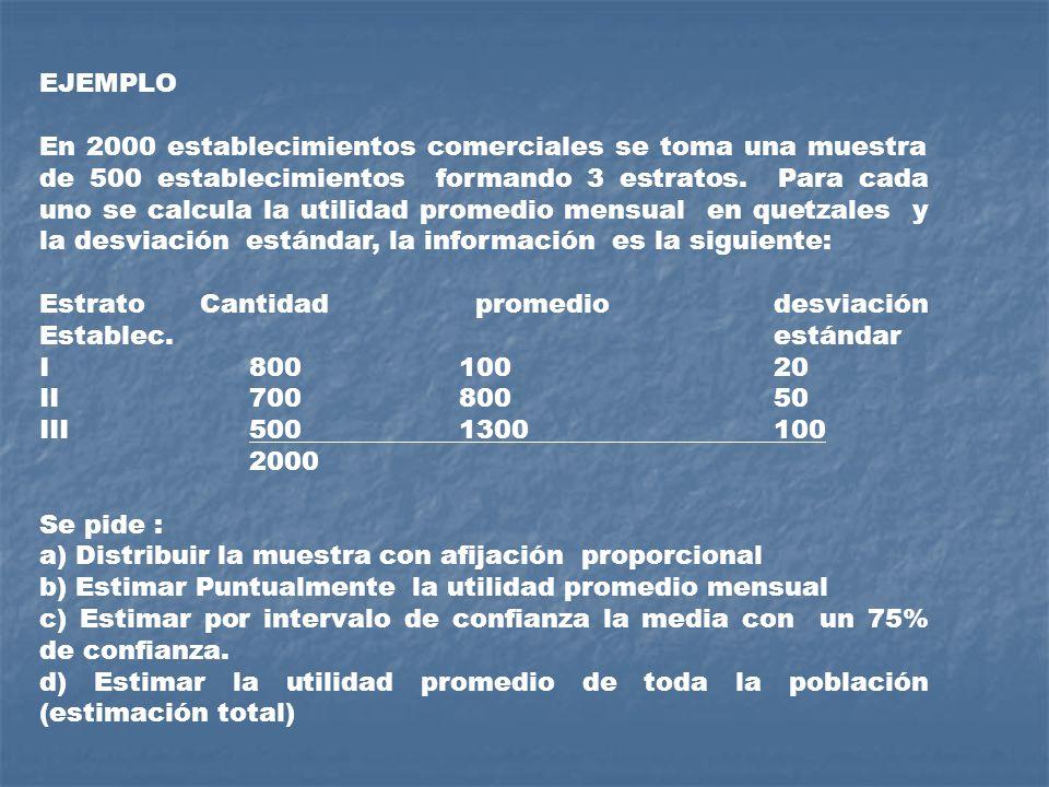 EJEMPLO En 2000 establecimientos comerciales se toma una muestra de 500 establecimientos formando 3 estratos. Para cada uno se calcula la utilidad pro