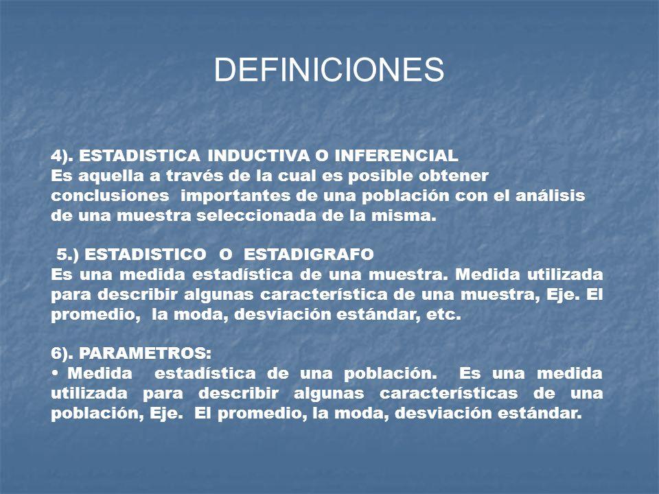 DEFINICIONES 4). ESTADISTICA INDUCTIVA O INFERENCIAL Es aquella a través de la cual es posible obtener conclusiones importantes de una población con e