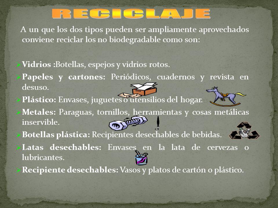 A un que los dos tipos pueden ser ampliamente aprovechados conviene reciclar los no biodegradable como son: Vidrios :Botellas, espejos y vidrios rotos