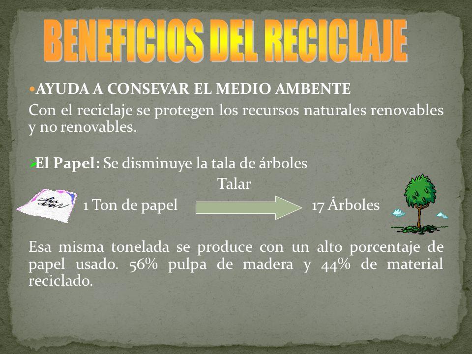 AYUDA A CONSEVAR EL MEDIO AMBENTE Con el reciclaje se protegen los recursos naturales renovables y no renovables. El Papel: Se disminuye la tala de ár