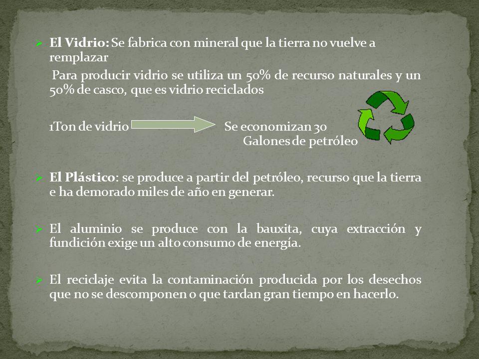 El Vidrio: Se fabrica con mineral que la tierra no vuelve a remplazar Para producir vidrio se utiliza un 50% de recurso naturales y un 50% de casco, q