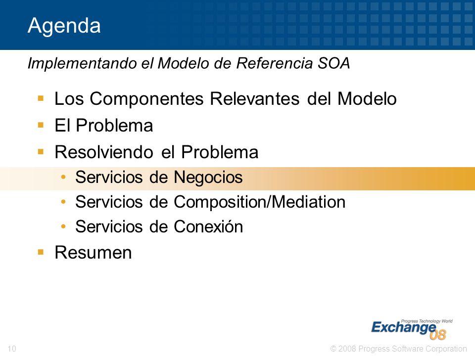 © 2008 Progress Software Corporation10 Agenda Los Componentes Relevantes del Modelo El Problema Resolviendo el Problema Servicios de Negocios Servicio