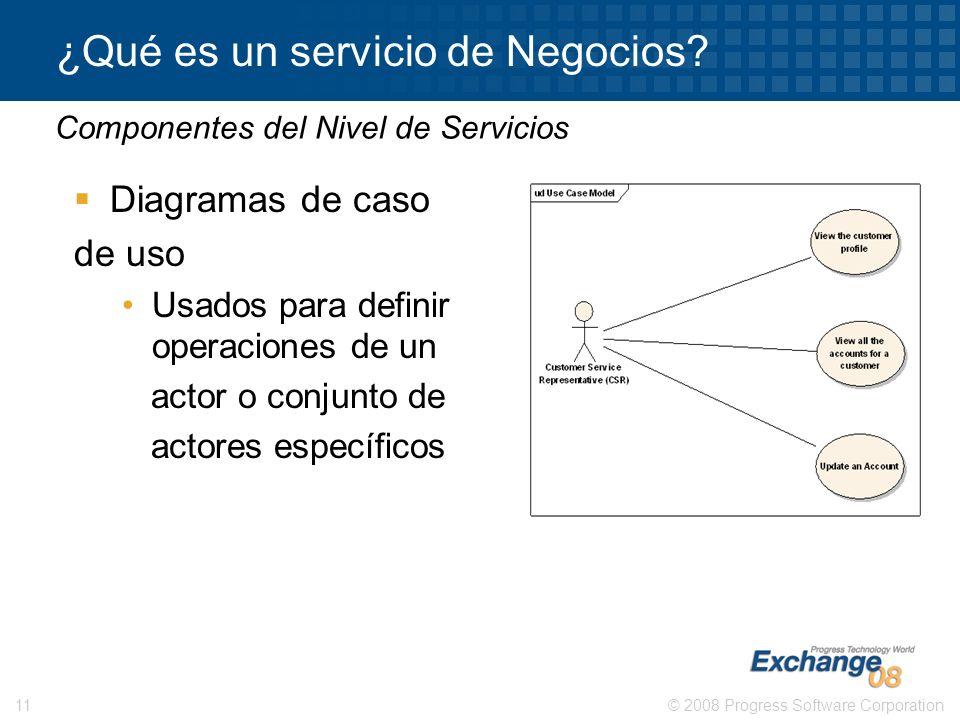 © 2008 Progress Software Corporation11 ¿Qué es un servicio de Negocios? Diagramas de caso de uso Usados para definir operaciones de un actor o conjunt