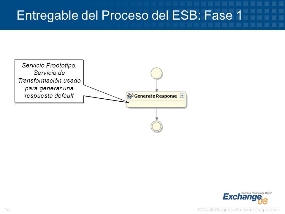 © 2008 Progress Software Corporation15 Entregable del Proceso del ESB: Fase 1 Servicio Proototipo, Servicio de Transformación usado para generar una r